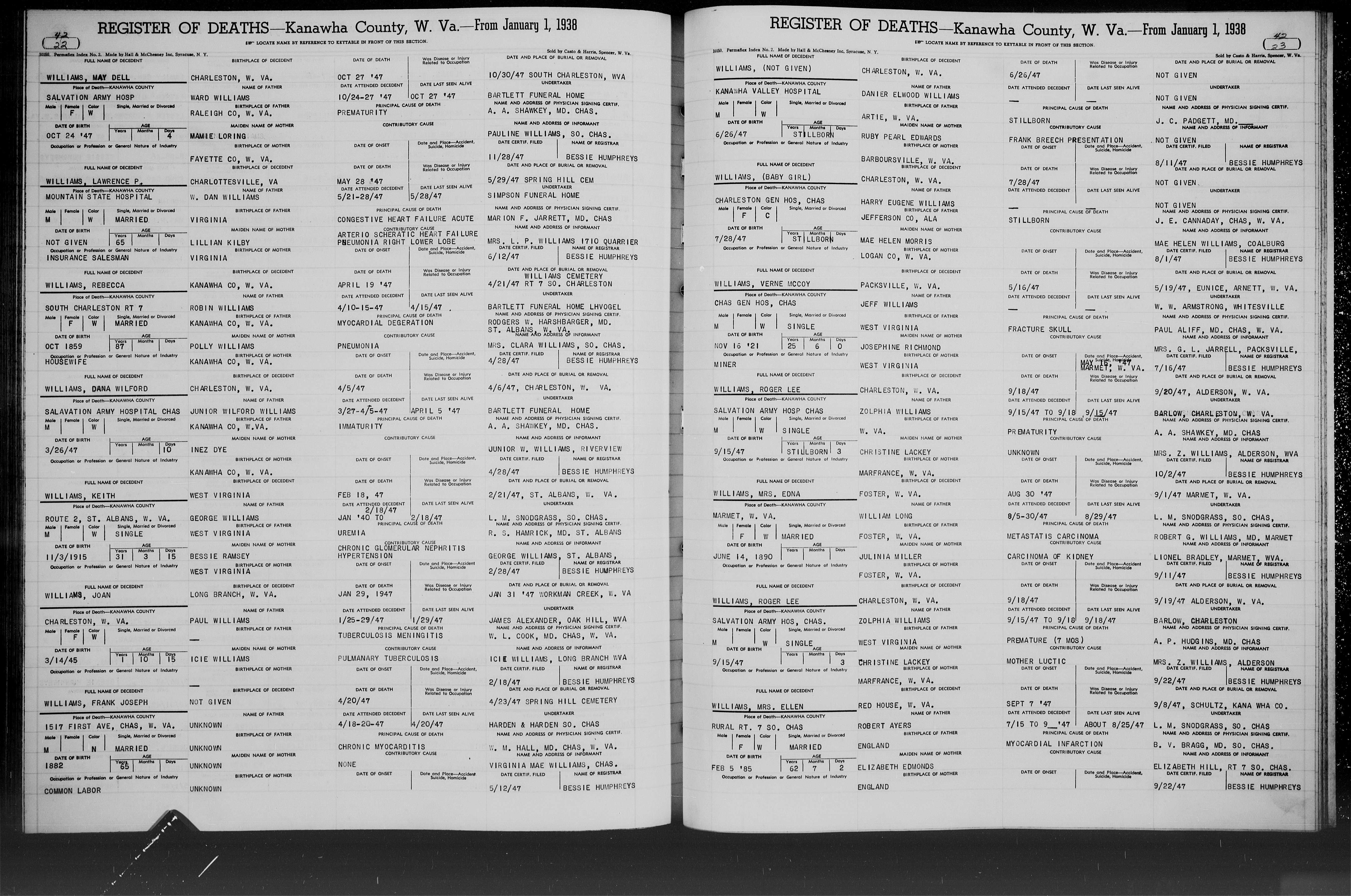 West Virginia Vital Research Records - Record Image